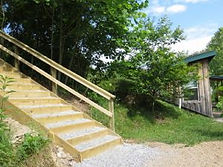Lighted Steps from Parking Area to Chickadee Cabin