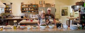 Don Oakley & Patty Bottari serving Meal at Well Being Retreat Center