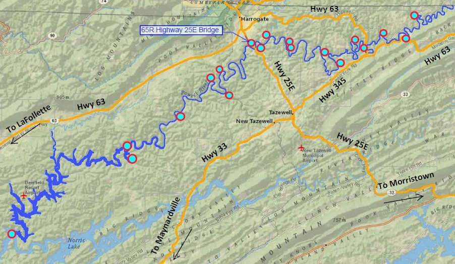 Location of Hghway 25E Bridge access to the Powell River in Tennessee