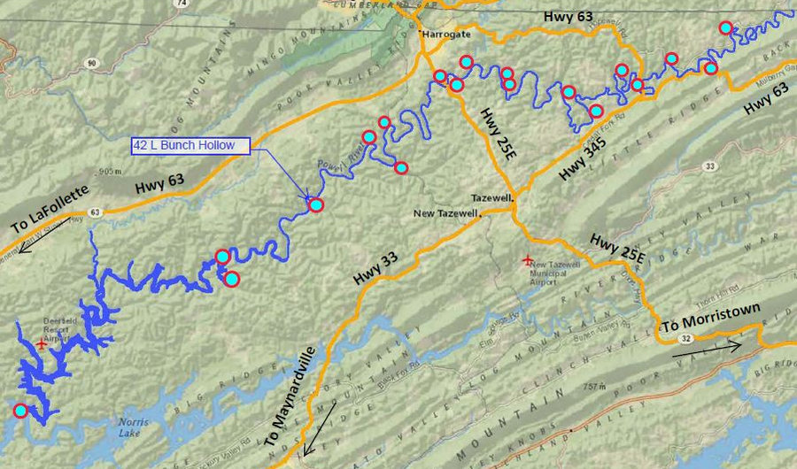 Location of Bunch Hollow access to the Powell River in Tennessee