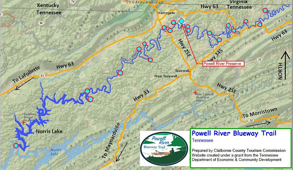 Location of Powell River Preserve access to the Powell River in Tennessee