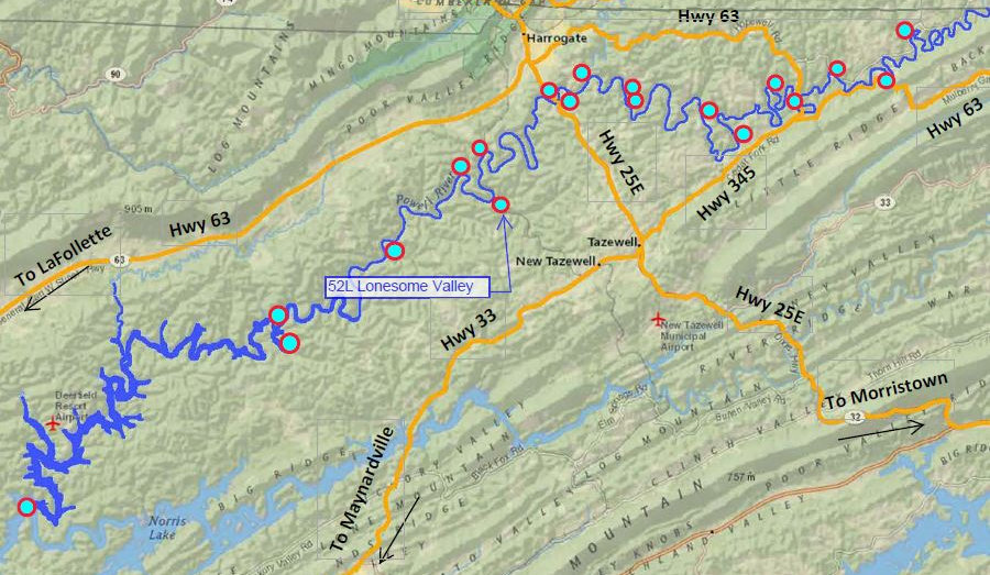 Location of Lonesome Valley Rd access to the Powell River in Tennessee