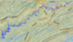 Location of Indian Creek access to the Powell River in Tennessee