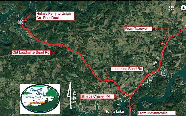 Map to Old Leadmine Bend Road Access onto Powell River in Tennessee