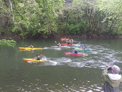 Photo of the start of the Powell River Kayak & Canoe Regatta