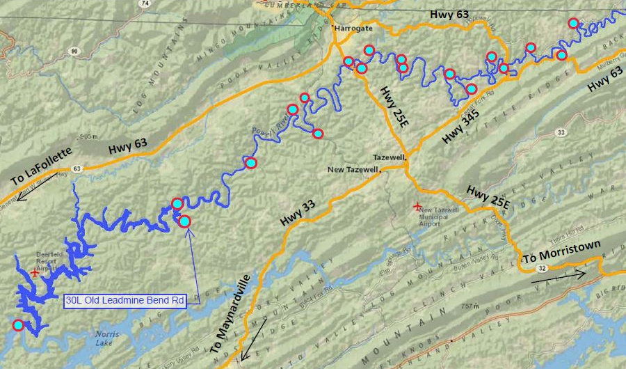 Location of Old Leadmine bend Rd access to the Powell River in Tennessee