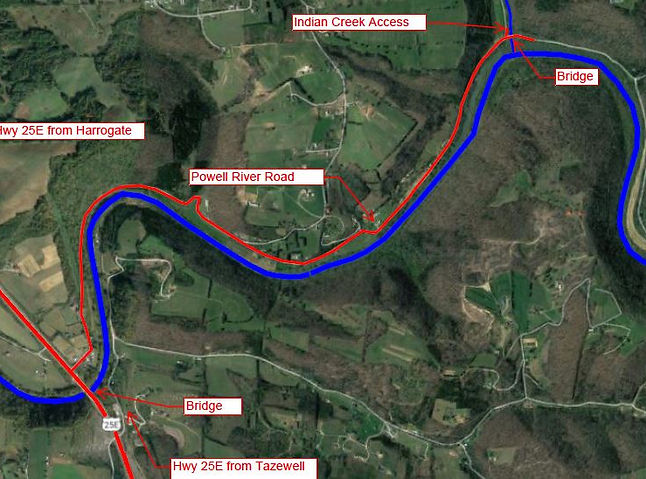 Road Map to Indian Creek Access onto Powell River in Tennessee