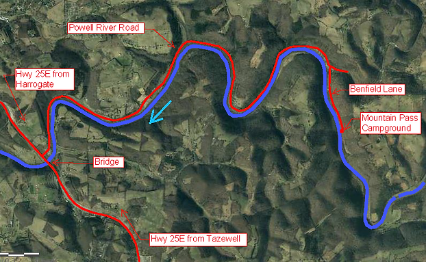 Map to Mt Pass Campground on the Powell River in NE Tennessee