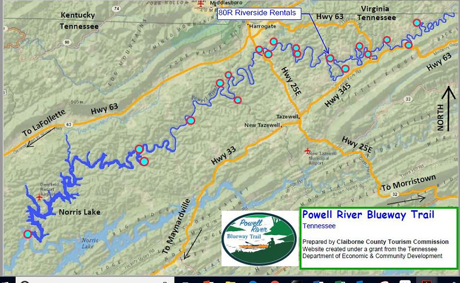 Location of Riverside Rentals on the Powell River in Tennessee