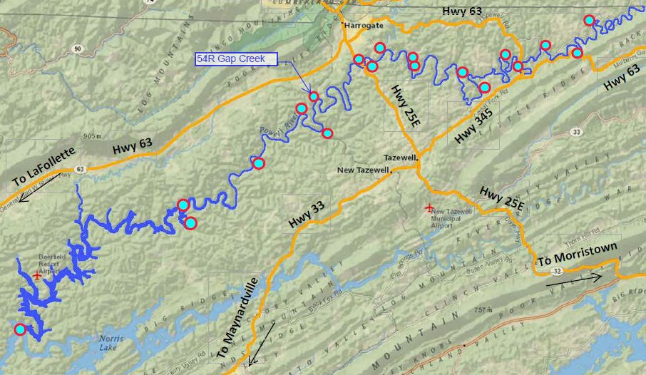 Location of Gap Creek access to the Powell River in Tennessee