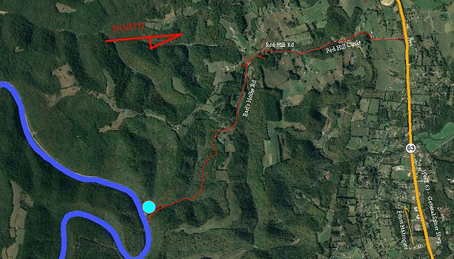 Road Map to Earl's Hollow Access onto Powell River in Tennessee