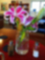 Photo of lilies on the serving counter at Well Being Retreat Center