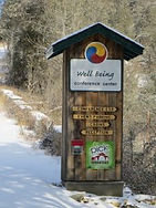 Photo of Kiosk at Entry to Well Being Retreat Center