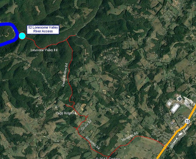 Road Map to Lones Access onto Powell River in Tennesseeme Valley Rd