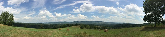 View from top of the hill at Well Being Retreat Center in Tazewell, Tennessee