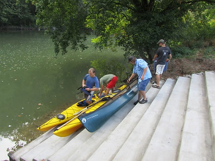 Kayaks Ready to Launch from Steps.JPG