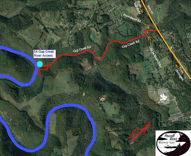 Road Map to Gap Creek Access onto Powell River in Tennessee