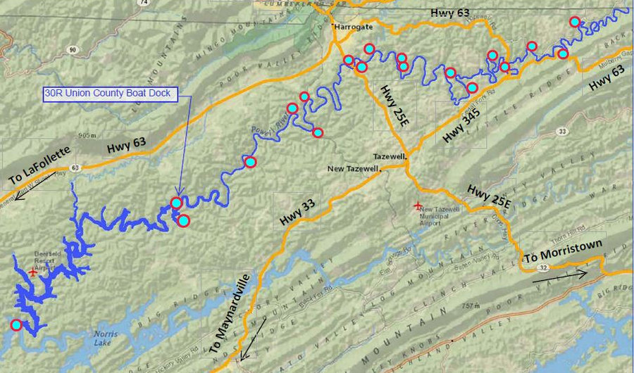 Location of Union County Boat Dock access to the Powell River in Tennessee