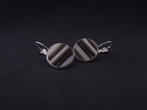 Grey & Black Silver Plated Medium Drop Earrings