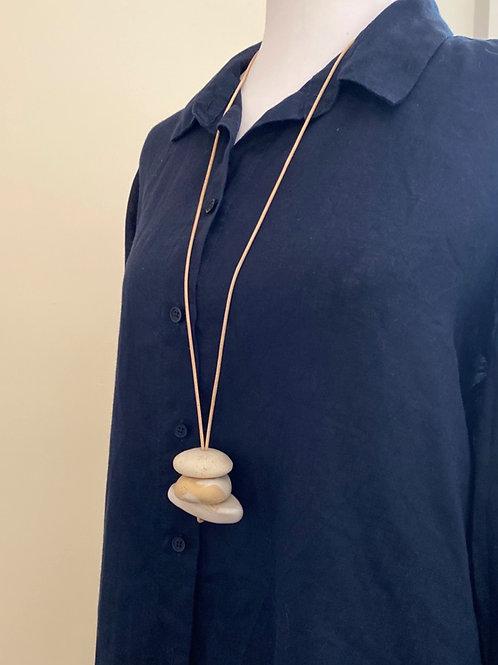 Caramel Adjustable Pebble Pendant Necklace