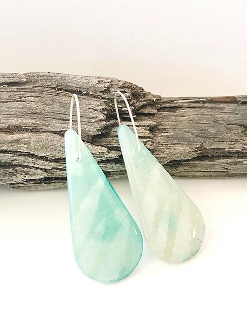 Water Blue Teardrop Statement Earrings | Salt Spray Jewellery