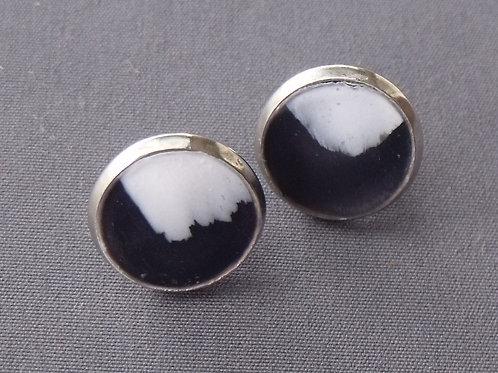 Black & White Stainless Steel Stud Earrings | Salt Spray Jewellery