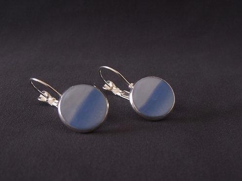 Two-Tone Blue Silver Plated Medium Drop Earrings
