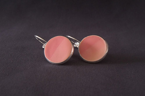 Two-Tone Pink Silver Plated Medium Drop Earrings