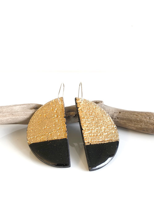 Black & Gold Half Moon Earring