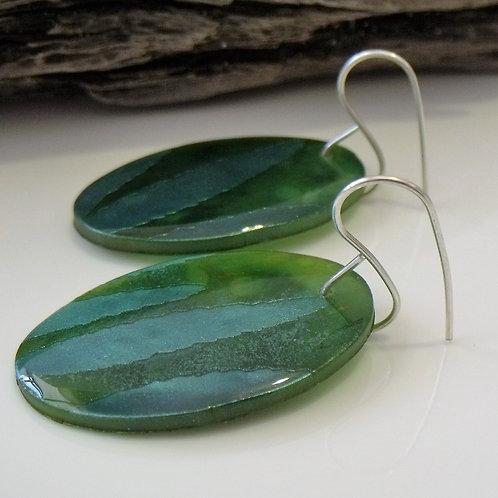 Green Oval Statement Earring  | Salt Spray Jewellery