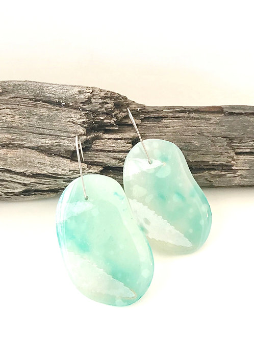 Water Blue Pebble Statement Earrings 6