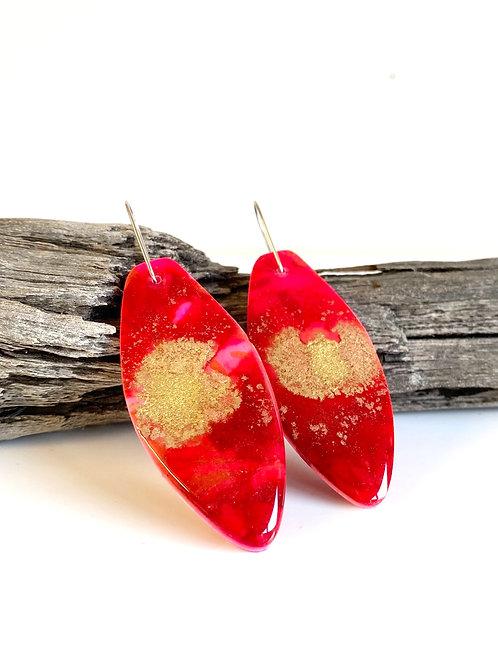 Golden Red Pink Resin Clay Statement Earring |Salt Spray Jewellery