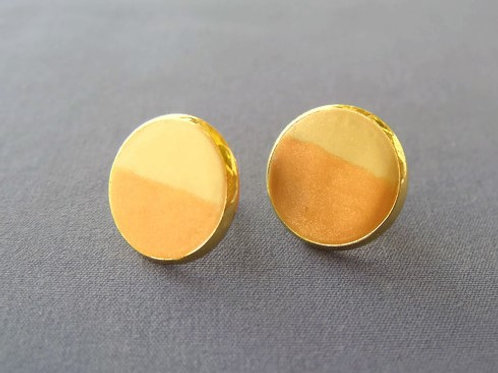 orange yellow stud earrings