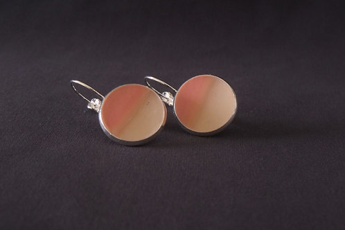 Pink & Cream Silver Plated Medium Drop Earrings