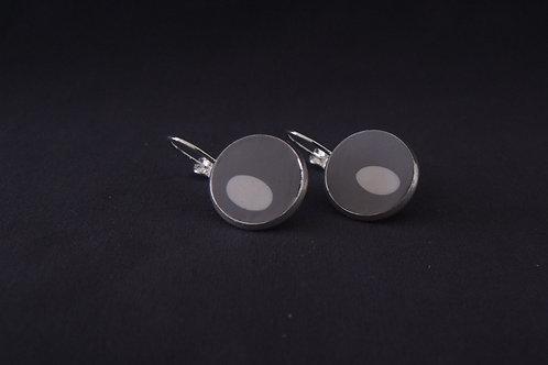 White Spot Silver Plated Medium Drop Earrings