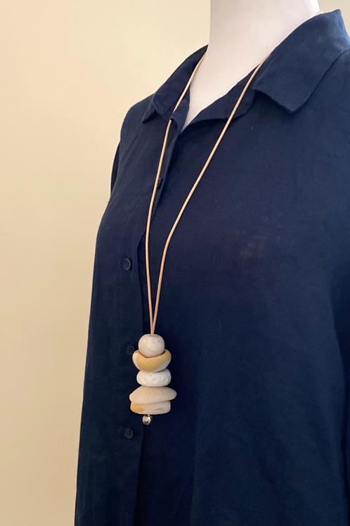Beige/Cream Adjustable Pendant Necklace