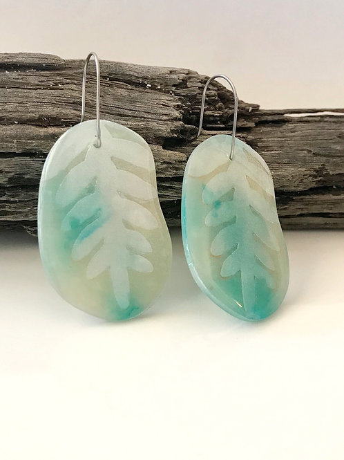 Water Blue Resin & Clay Statement Earrings | Salt Spray Jewellery