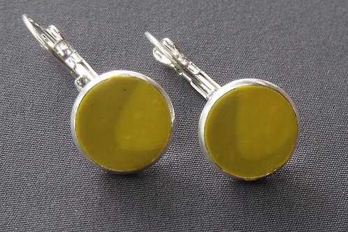 Yellow/Lime Silver Plated Drop Earrings