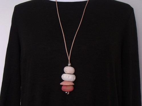 Pink White Long Pendant Necklace Adjustable | Salt Spray Jewellery