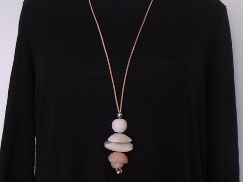 Translucent White Y-Shaped Pendant Necklace