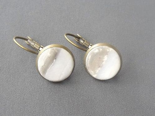 Grey Antique Bronze Drop Earrings