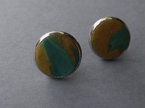 Stainless Steel Stud Earrings Green & Gold