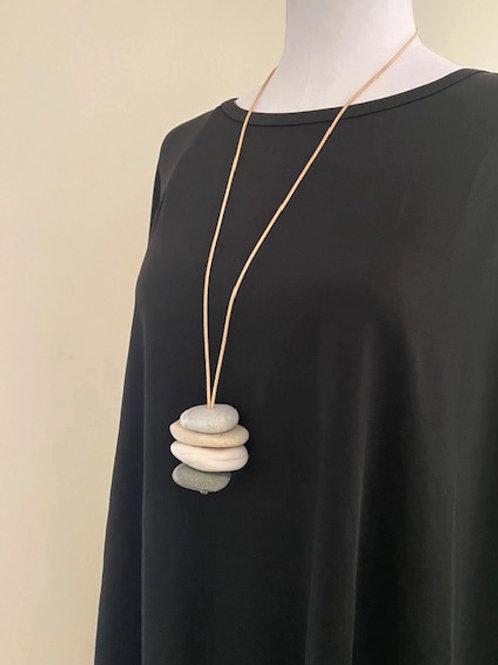 Cream & Grey Adjustable Pebble Pendant Necklace