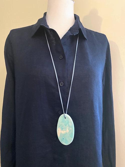 Pale Blue Long Paddle Pendant Necklace