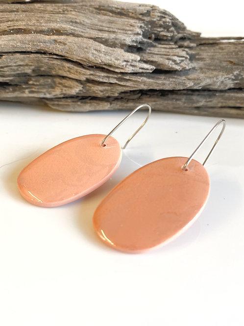 Peach Oval Tropical Earring