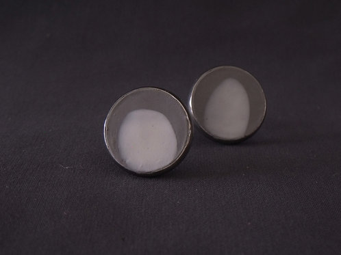 White Spot Stainless Steel Stud Earrings