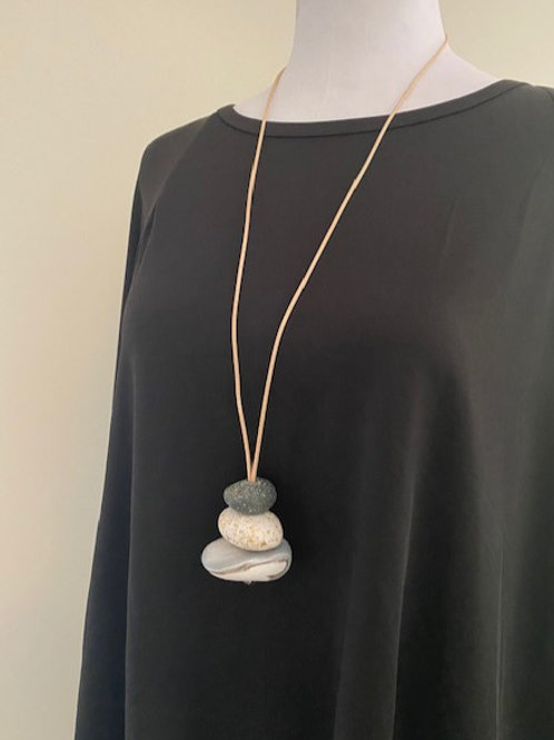Grey & White Adjustable Pendant Necklace |Salt Spray Jewellery