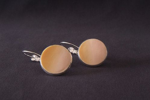 Pale Apricot Silver Plated Medium Drop Earrings