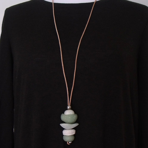Translucent Green Y-Shaped Pendant Necklace