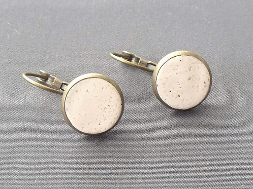 Cream Sand Antique Bronze Drop Earrings
